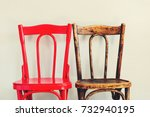 pair red brown chairs near... | Shutterstock . vector #732940195