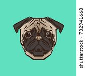 vector close up portrait of  pug | Shutterstock .eps vector #732941668