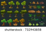 cartoon nature elements set for ... | Shutterstock .eps vector #732943858