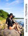 young beautiful woman in bikini ...   Shutterstock . vector #732944806