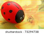 Easter eggs painted in a pattern red ladybird - stock photo