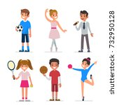 kids creativity and sport. flat ... | Shutterstock . vector #732950128
