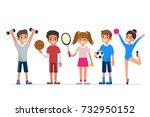 kids  sport. flat style...   Shutterstock . vector #732950152