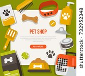 Stock photo  pet care concept design template for web banners infographics with text place flat style 732952348