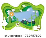 rural farm and nature landscape ... | Shutterstock .eps vector #732957802