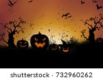 halloween card with pumpkin ... | Shutterstock . vector #732960262