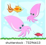 fish and squid are friends | Shutterstock .eps vector #73296613