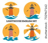 colorful lighthouse emblem set... | Shutterstock .eps vector #732967162