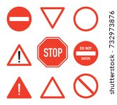 set of road stop signs  flat... | Shutterstock .eps vector #732973876