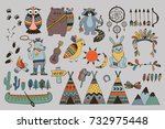 vector tribal illustration with ... | Shutterstock .eps vector #732975448