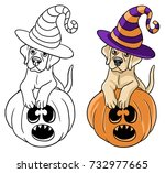 labrador puppy halloween | Shutterstock .eps vector #732977665