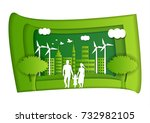 paper art carving of family and ... | Shutterstock .eps vector #732982105