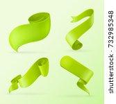green ribbon banners.... | Shutterstock .eps vector #732985348