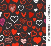 red hearts seamless background. ... | Shutterstock .eps vector #732986062