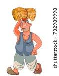 poor indian farmer carrying hay | Shutterstock .eps vector #732989998