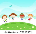 group of kids jumping with joy