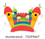 cute kids jumping on a bouncy... | Shutterstock .eps vector #73299607