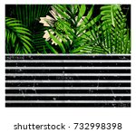 new york typography with floral ... | Shutterstock .eps vector #732998398
