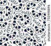 doodles cute seamless pattern.... | Shutterstock .eps vector #732998896