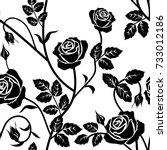 rose seamless pattern. black... | Shutterstock .eps vector #733012186