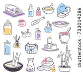 spa massage vector icons... | Shutterstock .eps vector #733014286