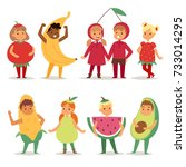 kids children party fruits... | Shutterstock .eps vector #733014295
