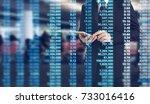 man hand holding smartphone... | Shutterstock . vector #733016416