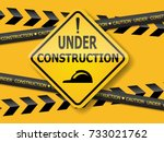 under construction sign label... | Shutterstock .eps vector #733021762