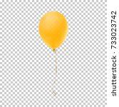 realistic yellow balloon... | Shutterstock .eps vector #733023742