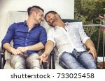 two gays sitting on chairs at... | Shutterstock . vector #733025458