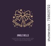 christmas bell  new year flat... | Shutterstock .eps vector #733025722