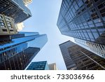up view in financial district ... | Shutterstock . vector #733036966