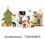 people celebrate the new year.... | Shutterstock .eps vector #733044895