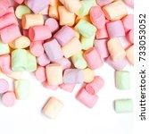 colorful mini marshmallows... | Shutterstock . vector #733053052