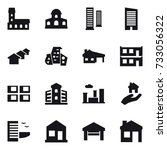 16 vector icon set   mansion ... | Shutterstock .eps vector #733056322