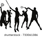five jumping squash players... | Shutterstock .eps vector #733061386