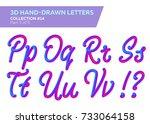 3d rounded headline font. neon... | Shutterstock .eps vector #733064158