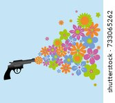a gun shooting colorful flowers | Shutterstock .eps vector #733065262