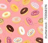 donuts seamless pattern.... | Shutterstock .eps vector #733068196