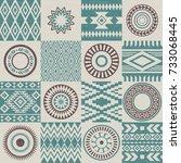 pieces of american indians... | Shutterstock .eps vector #733068445