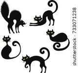 set of black cats. funny black... | Shutterstock .eps vector #733071238