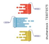 set of roller brushes with...   Shutterstock .eps vector #733073575