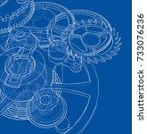 cogs and gears of clock. vector ... | Shutterstock .eps vector #733076236