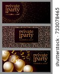 birthday party gold invitation... | Shutterstock .eps vector #733078465