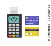 pos terminal and plastic cards. ... | Shutterstock .eps vector #733080496