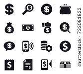 16 vector icon set   dollar ... | Shutterstock .eps vector #733081822