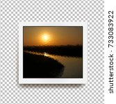 realistic square photo frame... | Shutterstock .eps vector #733083922