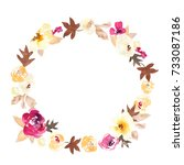 fall watercolor wreath. painted ... | Shutterstock . vector #733087186