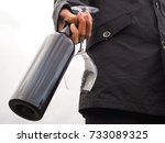 bottle of red wine in the hands ... | Shutterstock . vector #733089325