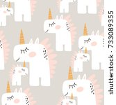 cute seamless pattern with... | Shutterstock .eps vector #733089355